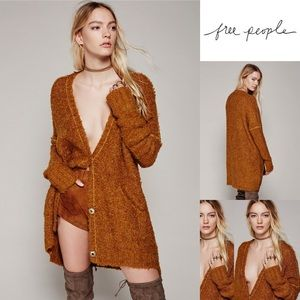 Free People Boucle slouch snapfront Cardigan